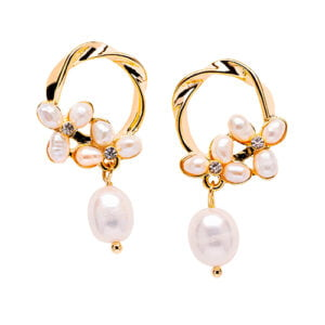 Post Floral Baroque Freshwater Pearl Earring