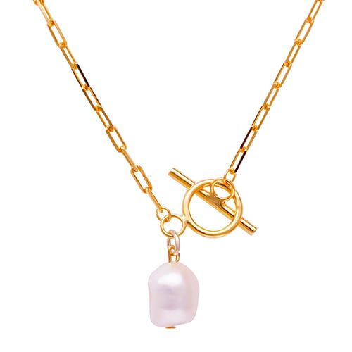 Bar & Loop Chain with Baroque Freshwater Pearl Necklace
