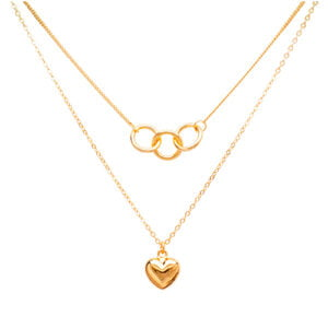 Olympic Love Double layer necklace Gold