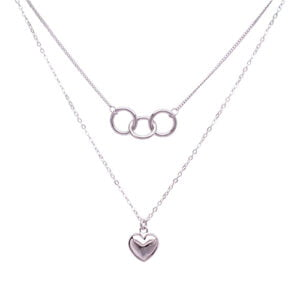 Olympic Love Double layer necklace Silver